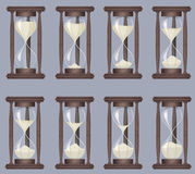 Sandglass icons animation set. Time hourglass, realistic sandclock process timer. Sandglass icons animation set. Time hourglass, realistic sandclock process Stock Image