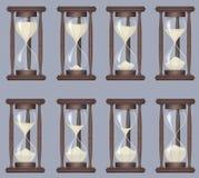 Sandglass ikon animaci set Czasu hourglass, realistycznego sandclock proces zegar ilustracja wektor