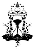 Sandglass, ivy and skull. Vector illustration with skull, ivy and sandglass in black and white colors Royalty Free Stock Image