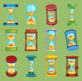 Sandglass vektorklockor tid somexponeringsglas bearbetar symboler, ställde in, objekt för historia för designen för lägenheten fö vektor illustrationer