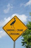 Sandhill Crane Crossing Sign. Watch for sandhill cranes crossing the street near this sign Stock Images