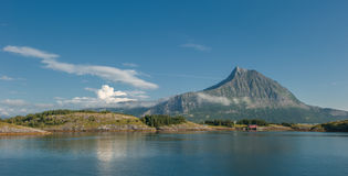 Sandhornoya island and mountain, Bodo, Norway Royalty Free Stock Photos