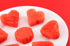 Sandia hearts on a plate - closeup Royalty Free Stock Photo