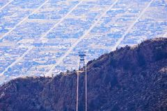 Sandia Peak Tram in New Mexico. A photograph from the peak of the Sandia mountains in New Mexico showing the city of Albuquerque below and showing the second Royalty Free Stock Photos