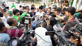Sandiaga Uno speaking with journalists Stock Photos