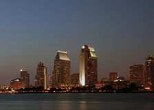 Sandiego downtown. Downtown san diego  at dusk as viewed from Coronado island, a long exposure shot Royalty Free Stock Photography