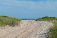 Sandig bana in mot stranden, med frodigt grönt gräs på båda sidor, brandö, NY royaltyfri fotografi