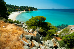 Sandig fjärd, Sithonia, nordliga Grekland Royaltyfri Foto