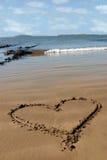 sandig hjärtaförälskelse Fotografering för Bildbyråer
