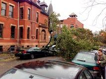 Sandig skada för orkan över bilen Arkivbilder