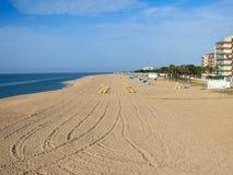 Sandig strand av Malgrat de Fördärva Arkivbild