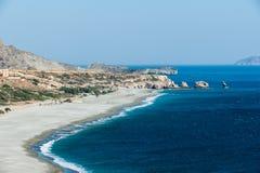 Sandig strand av TrioPetra/Crete Arkivbilder