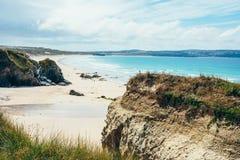 Sandig strand på Gwithian arkivfoton