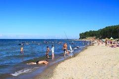 Sandig strand på Kulikovo, Östersjön Arkivbilder