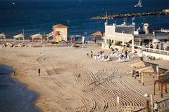 Sandig strand Tel Aviv Royaltyfri Foto