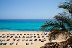 sandig sun för strandloungers Royaltyfri Foto