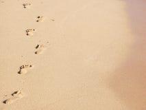 sandiga fotspår Royaltyfria Bilder
