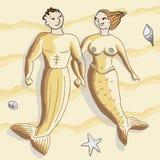 sandiga mermaids Arkivfoto