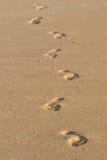 sandiga strandfotspår Arkivbild