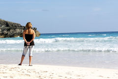 Sandiger Strand des Handys stockbilder