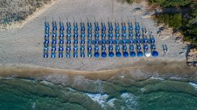 sandigt strandhav greece öthassos Royaltyfria Bilder