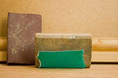 Sanding block and sandpaper Royalty Free Stock Photo
