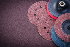 Sanding discs holder on polishing sheet abrasive materials Royalty Free Stock Photography