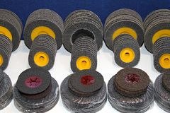 Sanding discs. New sanding discs in various dimensions and grades Royalty Free Stock Images