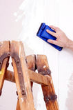 Sanding drywall Royalty Free Stock Images