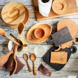 Reparing wooden utensils stock image