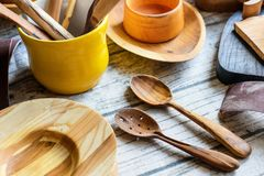 Reparing wooden utensils stock photos
