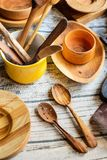 Reparing wooden utensils stock photo