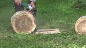Sanding trunk log. Closeup. 4K stock footage