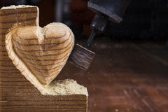 Sanding wood heart close Royalty Free Stock Photography