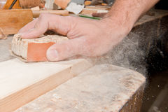 Sanding wood Stock Photo