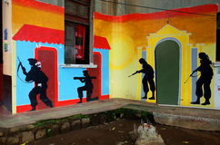 Sandinista mural. A mural of Sandinista resistance fighters in Leon, Nicaragua stock photos