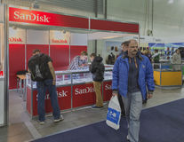 SanDisk company booth at CEE 2015, the largest electronics trade show in Ukraine Royalty Free Stock Photo
