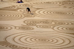 Sandkunst an Tolcarne-Strand, Newquay Lizenzfreies Stockfoto