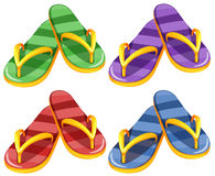 Sandles in four different colors Stock Images