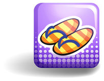 Sandles on purple badge Stock Image