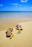 Sandálias e flores em uma praia de Havaí Fotos de Stock Royalty Free