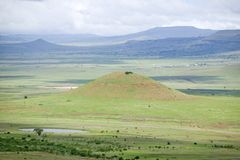 Sandlwana hill or Sphinx, the scene of the Anglo Zulu battle site of January 22, 1879. The great Battlefield of Isandlwana and the Royalty Free Stock Image