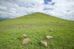 Sandlwana hill or Sphinx, the scene of the Anglo Zulu battle site of January 22, 1879. The great Battlefield of Isandlwana and the Royalty Free Stock Photography