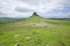 Sandlwana hill or Sphinx with soldiers graves in foreground, the scene of the Anglo Zulu battle site of January 22, 1879. The grea Royalty Free Stock Image