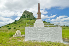 Sandlwana hill or Sphinx with soldiers graves in foreground, the scene of the Anglo Zulu battle site of January 22, 1879. The grea Stock Images