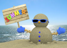 Sandman On The Beach - 3D Royalty Free Stock Images
