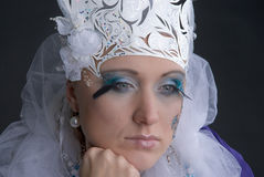 Sandness. There is women under makeup of snow princess. She is sad royalty free stock photos