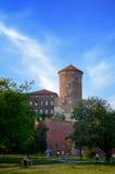 Sandomierska Tower of the Wawel Royal Castle in Krakow in summer days,tourist place, Poland Stock Images