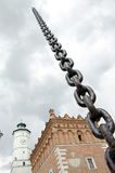 Sandomierz in chains stock images