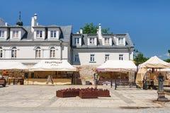 Sandomierz is gekend voor zijn Oude Stad, die een belangrijke toeristische attractie is Royalty-vrije Stock Foto